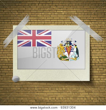 Flags British Antarctic Territory At Frame On A Brick Background. Vector