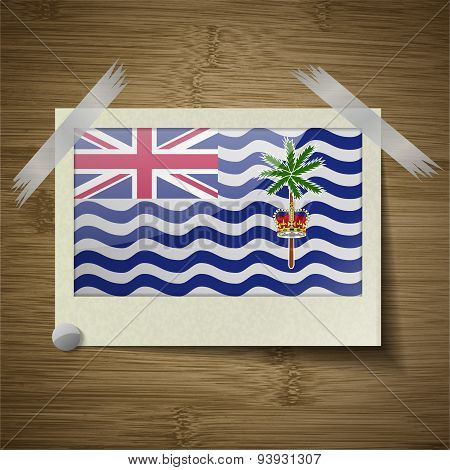 Flags British Indian Ocean Territory At Frame On Wooden Texture. Vector