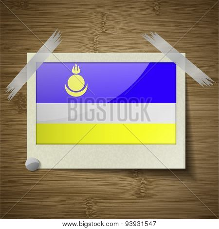 Flags Buryatia At Frame On Wooden Texture. Vector