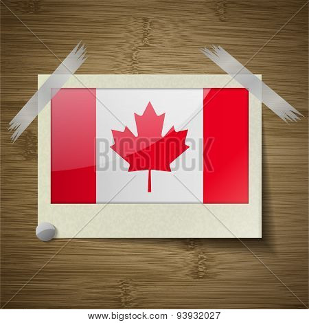 Flags Canada At Frame On Wooden Texture. Vector