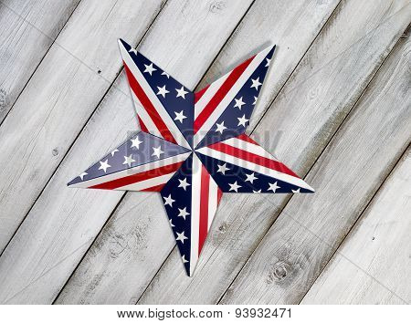 Fourth Of July Star On Rustic White Wooden Boards
