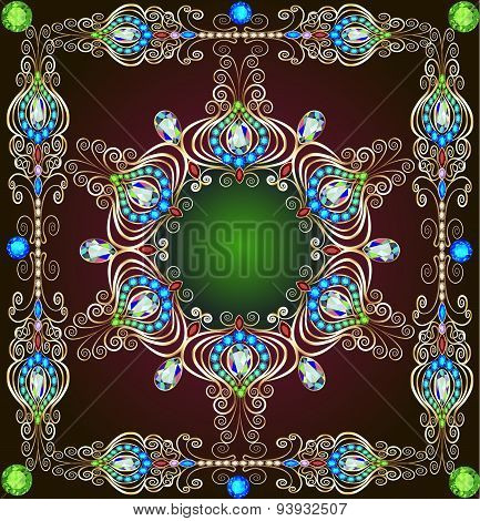 Background With A Circular Gold Ornaments With Precious Stones