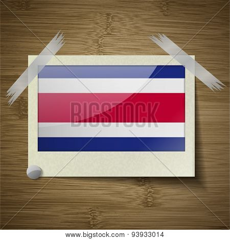 Flags Costa Rica At Frame On Wooden Texture. Vector
