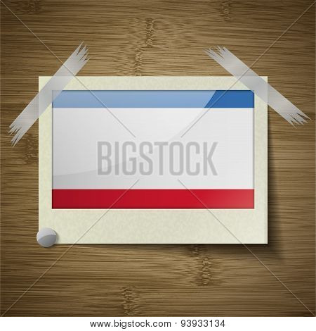 Flags Crimea At Frame On Wooden Texture. Vector
