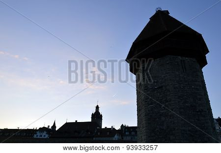 Chapel tower bridge Switzerland