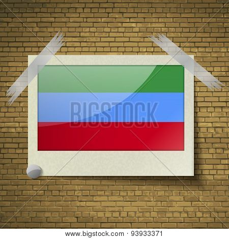 Flags Dagestan At Frame On A Brick Background. Vector