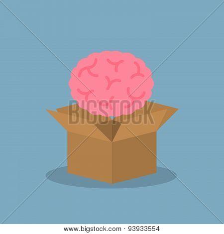 Brain Over Opened Box
