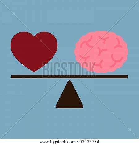 Red Love Heart And Brain On Weight Scale