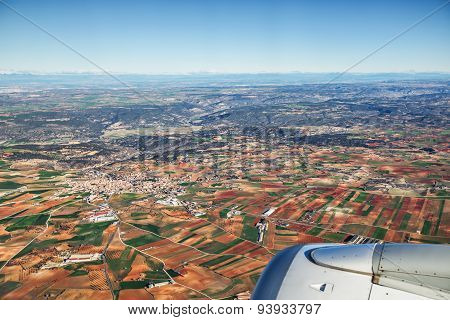 Farmed Fields Aerial View From Airplane Near Madrid, Spain