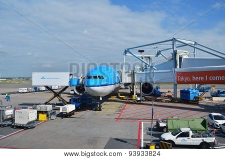 Amsterdam, Netherlands - May 16, 2015: Klm Plane At Schiphol Airport