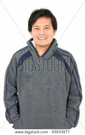 Asian Man Wearing Hoodshirt.