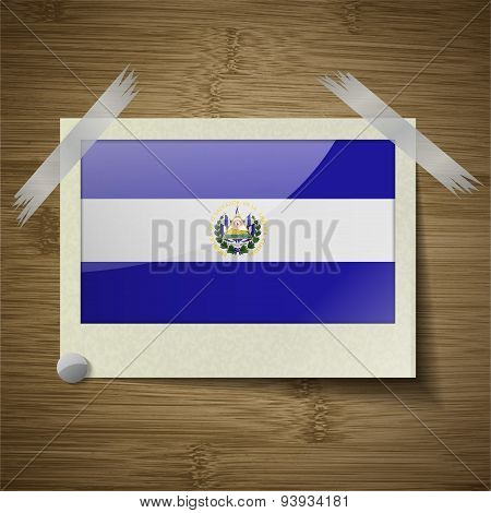 Flags El Salvador At Frame On Wooden Texture. Vector
