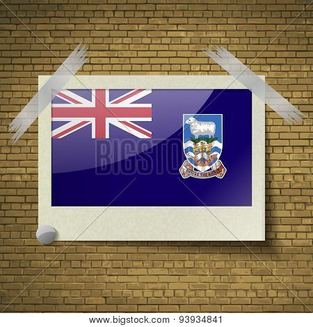 Flags Falkland Islands At Frame On A Brick Background. Vector