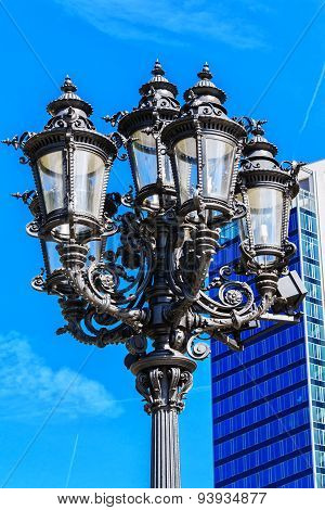 Old fashioned lantern in front of the Alte Oper in Frankfurt am Main, Germany