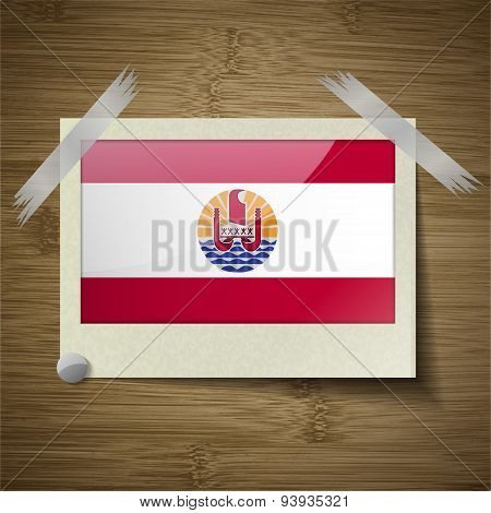 Flags French Polynesia At Frame On Wooden Texture. Vector