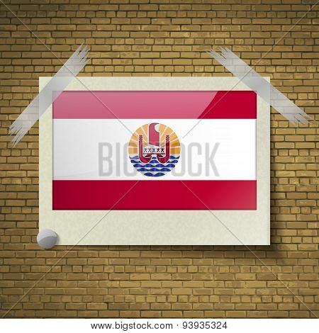 Flags French Polynesia At Frame On A Brick Background. Vector