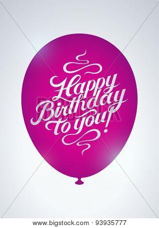 Happy Birthday to you! Calligraphic retro Birthday Card. Vector illustration.