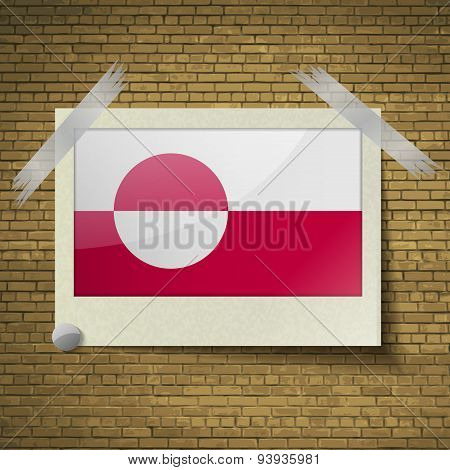 Flags Greenland At Frame On A Brick Background. Vector