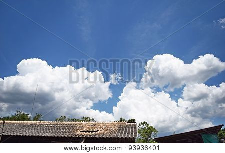 Blue sky white cloud background and housetop