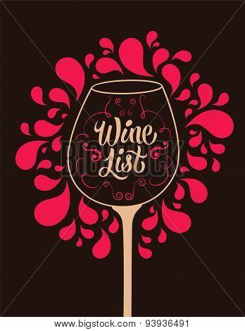 Retro style wine list design. Calligraphic vector illustration.