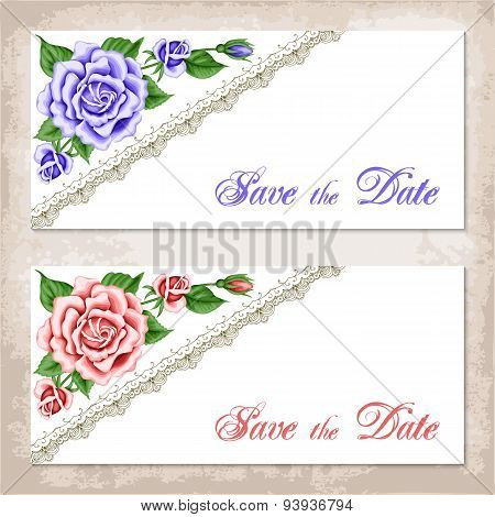 Vintage Invitation Template With Roses