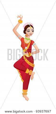 Ethnic Dance Of Cartoon Indian Girl