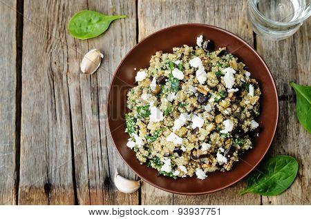 Quinoa Spinach Eggplant Feta Salad