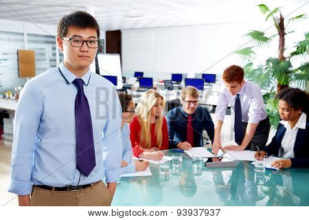 Asian executive young businessman portrait in office meeting