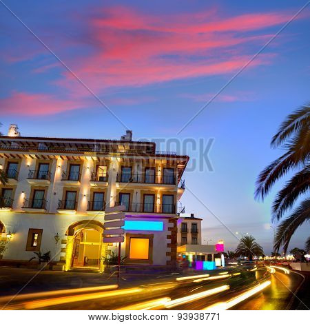 Denia old village sunset dusk in Mediterranean Alicante Spain Europe