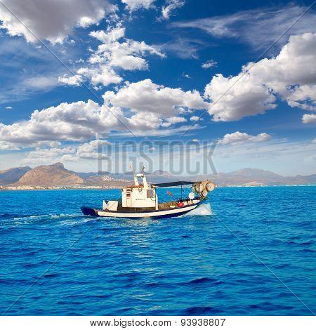 Denia fisher boat sailing in Mediterranean sea alicante at spain