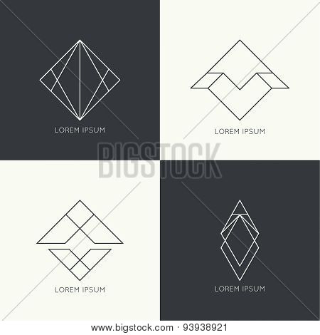 Set of vector hipster logo