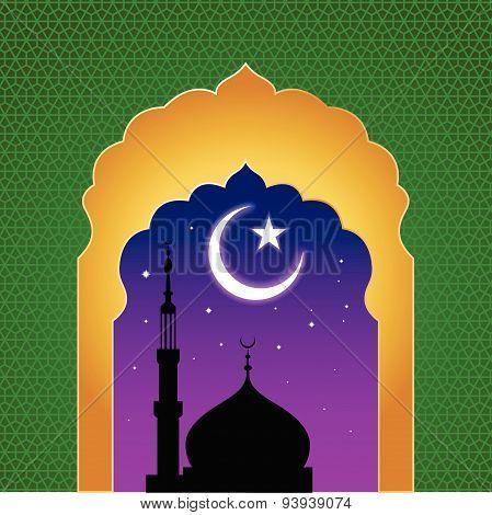 ramadan kareem arab islamic window view at midnight