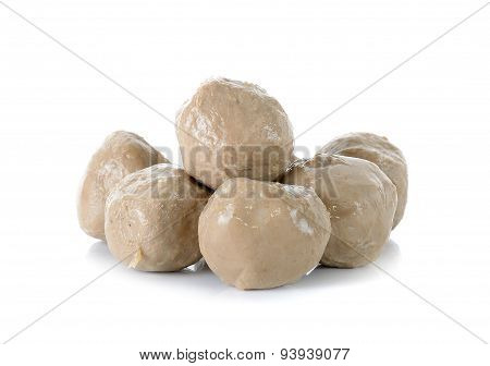Meat Ball Isolated On The White Background