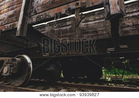 close-up of the rusty freight car wheel pair