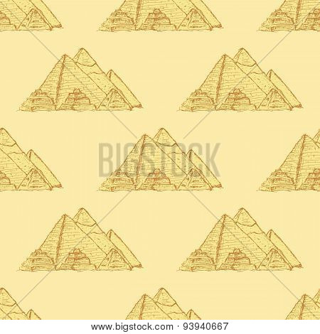 Sketch Egypt Pyramids In Vintage Style