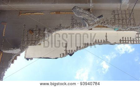Detail Of A Collapsed Roof On A Demolition Site