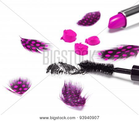 Black Mascara And Bright Purple Lipstick