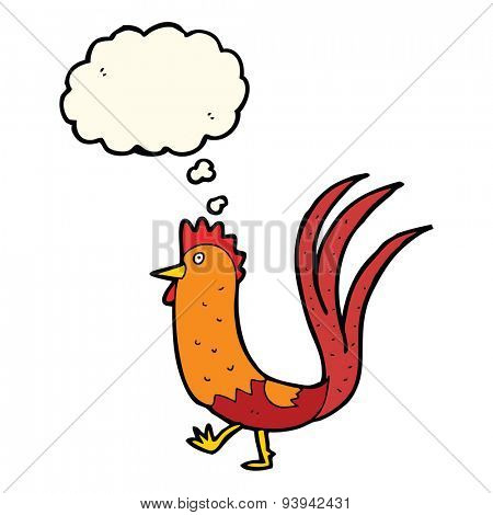 cartoon cockerel with thought bubble