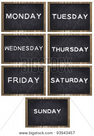 weekdays written on chalkboard with frame -