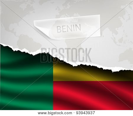 Paper With Hole And Shadows Benin Flag