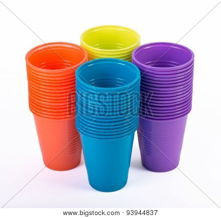 Bright colorful plastic cups