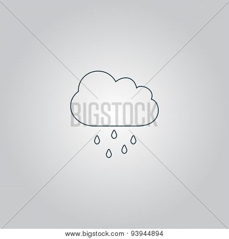 Cloud with rain weather vector icon