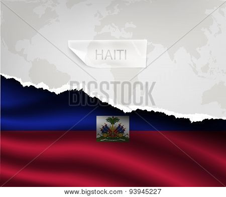 Paper With Hole And Shadows Haiti Flag