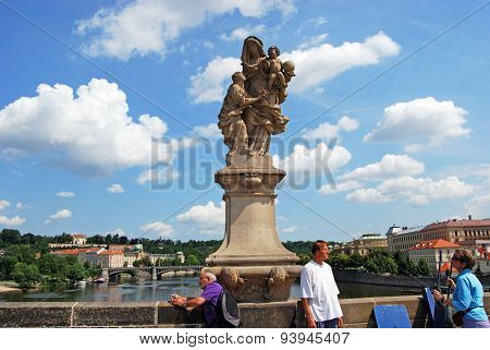 Statue on Charles Bridge, Prague.