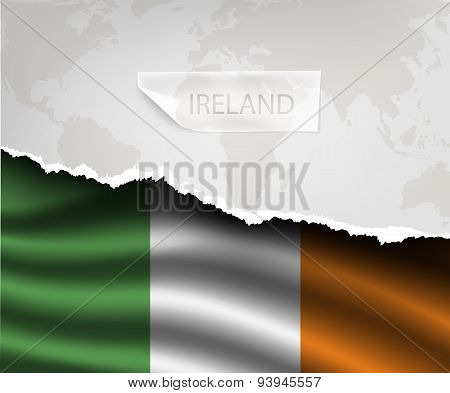 Paper With Hole And Shadows Ireland Flag