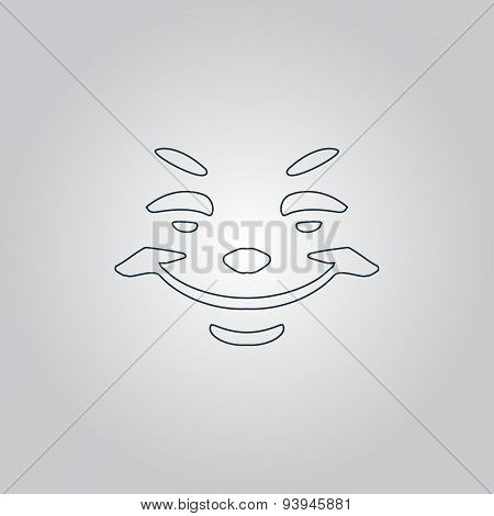 Universal smiling icon, freehand drawing