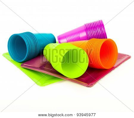 Bright colorful plates and cups
