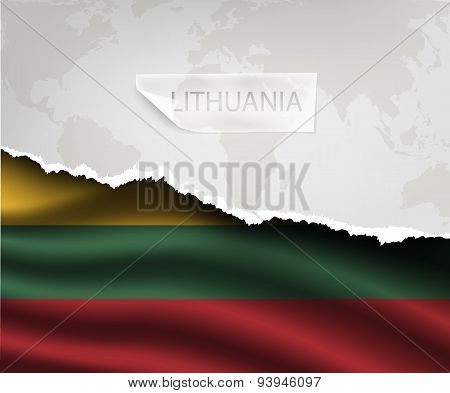 Paper With Hole And Shadows Lithuania Flag