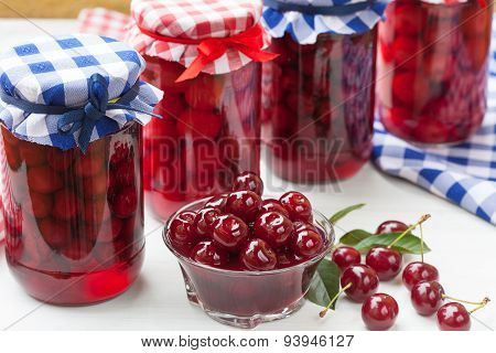 Sour cherries compote