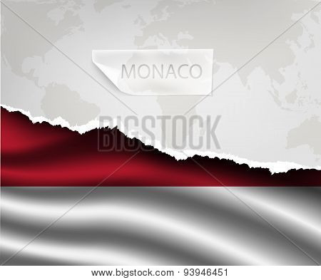 Paper With Hole And Shadows Monaco Flag